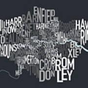 London Uk Text Map Poster by Michael Tompsett