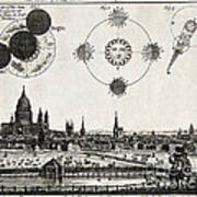 London With Eclipse Diagram, 1748 Poster