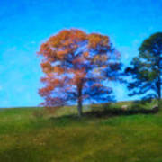 Lone Trees Painting Poster