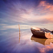 Lonely Boat And Amazing Sunset At The Sea Poster
