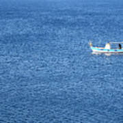Lonely Fishing Boat Sailing On A Calm Blue Sea Poster