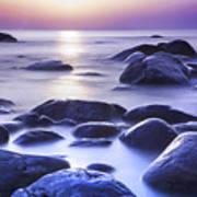 Long Exposure Sea And Rocks In Estonia Baltic Sea Poster