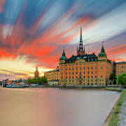 Long Exposure Stockholm Sunset Poster