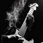 Long Hair Man Playing Guitar Poster