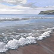Long Waves At Trebarwith Poster