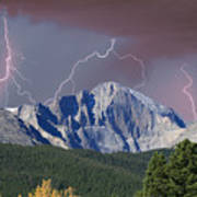Longs Peak Lightning Storm Fine Art Photography Print Poster