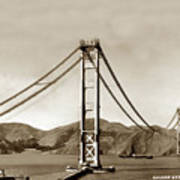 Looking North At The Golden Gate Bridge Under Construction With No Deck Yet 1936 Poster