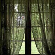 Looking Out The Window Of A Log Cabin Poster