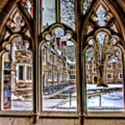 Looking Through An Arched Window At Princeton University At The Courtyard Poster