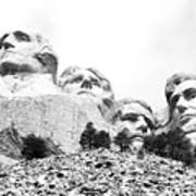 Looking Up At Mount Rushmore National Monument South Dakota Black And White Poster