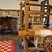Loom And Fireplace In Settlers Cabin Poster