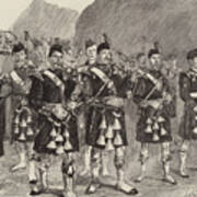 Lord Archibald Campbell And His Pipers Marching Through The Pass Of Glencoe Poster