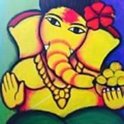 Lord Ganesh By  Sarada Tewari Acrylic Paint On Canvas 24x28inch Poster