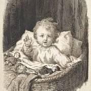 Lorenz Frolich Danish, Copenhagen 1820-1908 Hellerup, Child In A Crib Poster