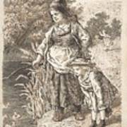 Lorenz Frolich Danish, Copenhagen 1820-1908 Hellerup, Three Little Girls In A Room Arguing And Spi Poster