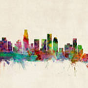 Los Angeles California Skyline Signed Poster