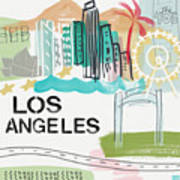 Los Angeles Cityscape- Art By Linda Woods Poster