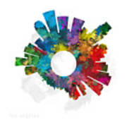 Los Angeles Small World Cityscape Skyline Abstract Poster