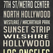 Los Angeles Vintage Places Poster Poster