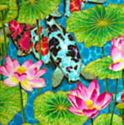 Lotus  Flower  And  Koi Fish Poster