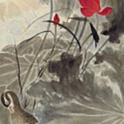 Lotus Mandarin Duck Poster