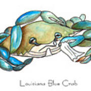 Louisiana Blue Crab Poster by Elaine Hodges