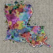 Louisiana Map Color Splatter 5 Poster