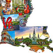 Louisiana Map - New Orleans Poster