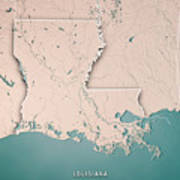 Louisiana State Usa 3d Render Topographic Map Neutral Border Poster