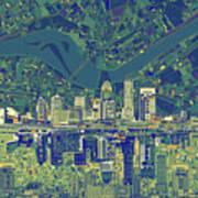Louisville Kentucky Skyline Abstract 6 Poster