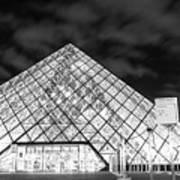 Louvre Museum Bw Poster