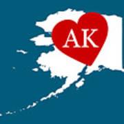 Love Alaska White Poster