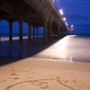 Love Heart In The Sand At Boscombe Pier Poster