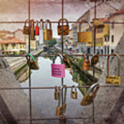 Love Lock Triangle At Naviglo Grande Milan Italy  Poster