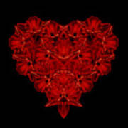Love Red Floral Heart Poster