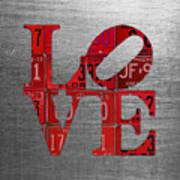 Love Sign Philadelphia Recycled Red Vintage License Plates On Aluminum Sheet Poster