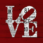 Love Sign Vintage License Plates On Red Barn Wood Poster