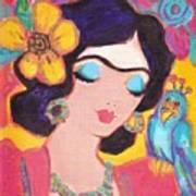 Lovely Frida And Little Blue Parrot Poster