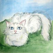 Lovely Kitty. White Cat Kusyaka Poster
