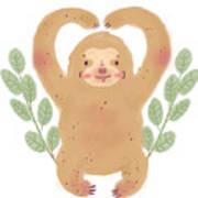 Lovely Sloth Illustration Poster