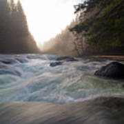 Lower Lewis River Falls During Sunset Poster