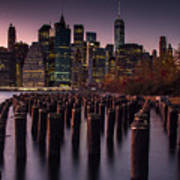 Lower Manhattan At Night Poster