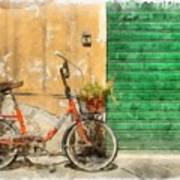 Lucca Italy Bike Watercolor Poster