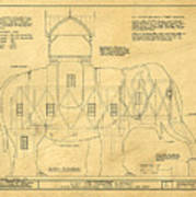 Lucy The Elephant Building Patent Blueprint  Poster