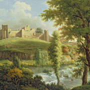 Ludlow Castle With Dinham Weir Poster