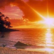 Lumahai Beach Sunset Poster