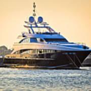 Luxury Yacht On Golen Sunset Poster