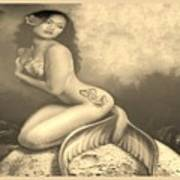 Lydia The Tattooed Mermaid In Sepia Poster