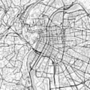 Lyon France Light Map Poster