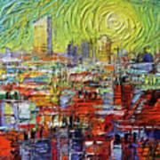 Lyon Sunrise Glow - Modern Impressionist Stylized Cityscape Poster